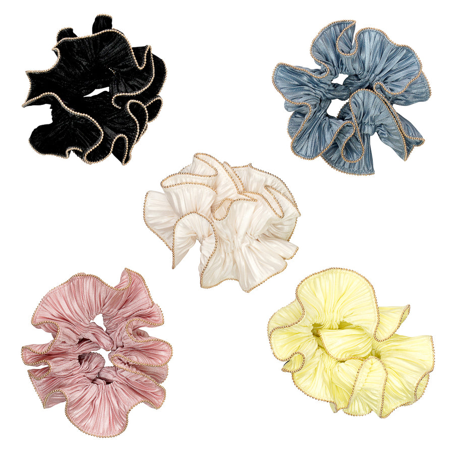 Gold trim pleated satin scrunchie - limlim official