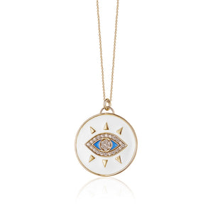 EVIL EYE ENAMEL COIN NECKLACE