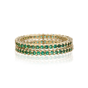 STACK OF EMERALD RINGS