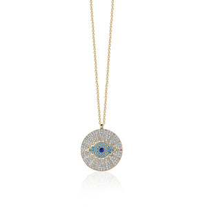 Large zircon evil eye pendant