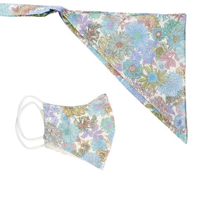 Scarf and mask floral set baby blue - limlim official