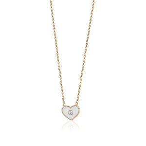 SMALL ENAMEL HEART NECKLACE - limlim official