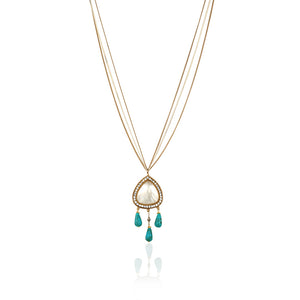 LONG SHELL AND TURQUOISE NECKLACE - limlim-official