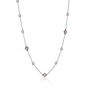 CLOVER AND CRYSTAL GUNMETAL NECKLACE - limlim-official