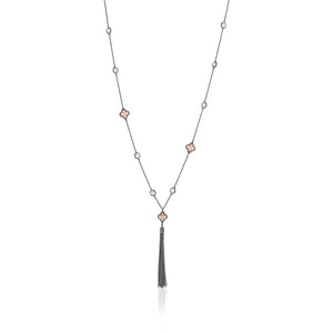 CLOVER AND CRYSTAL WITH GUNMETAL TASSEL NECKLACE - limlim-official