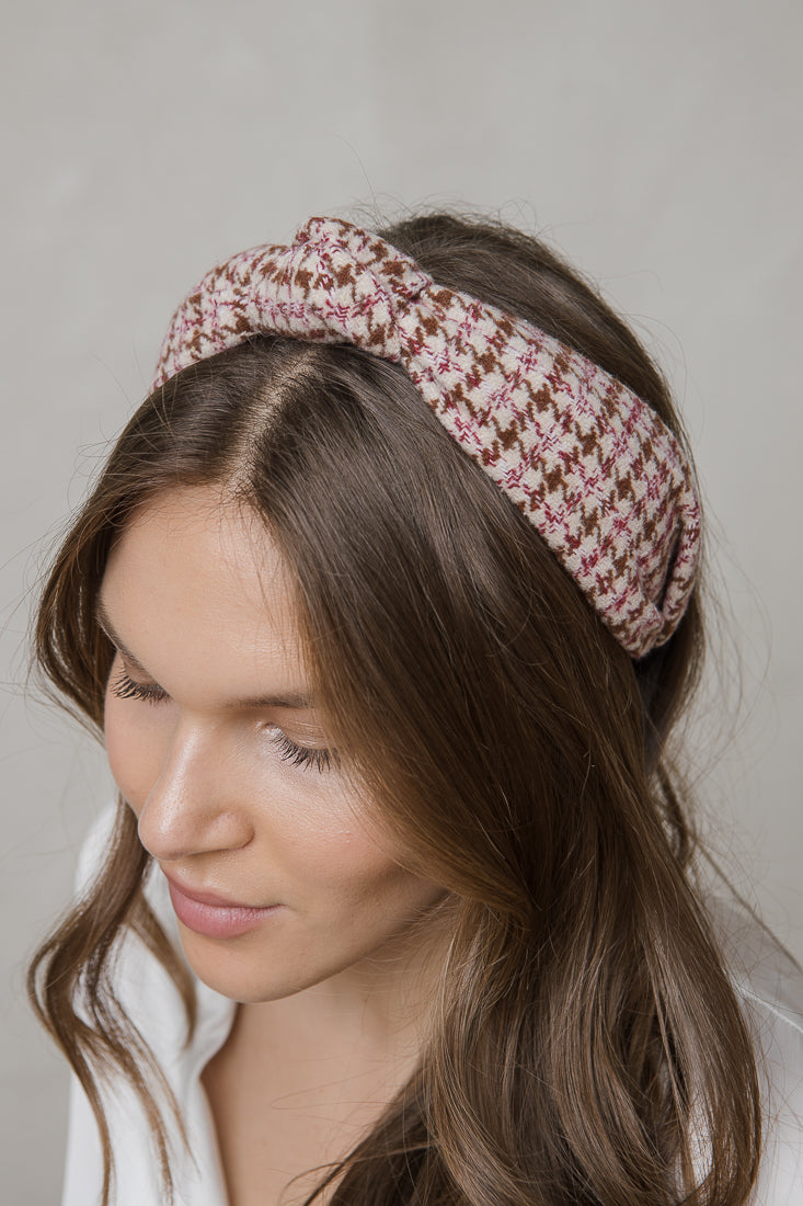 HOUNDS TOOTH WOOL HAIRBAND BEIGE