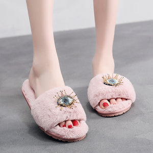 PLUSH EVIL EYE SLIPPERS