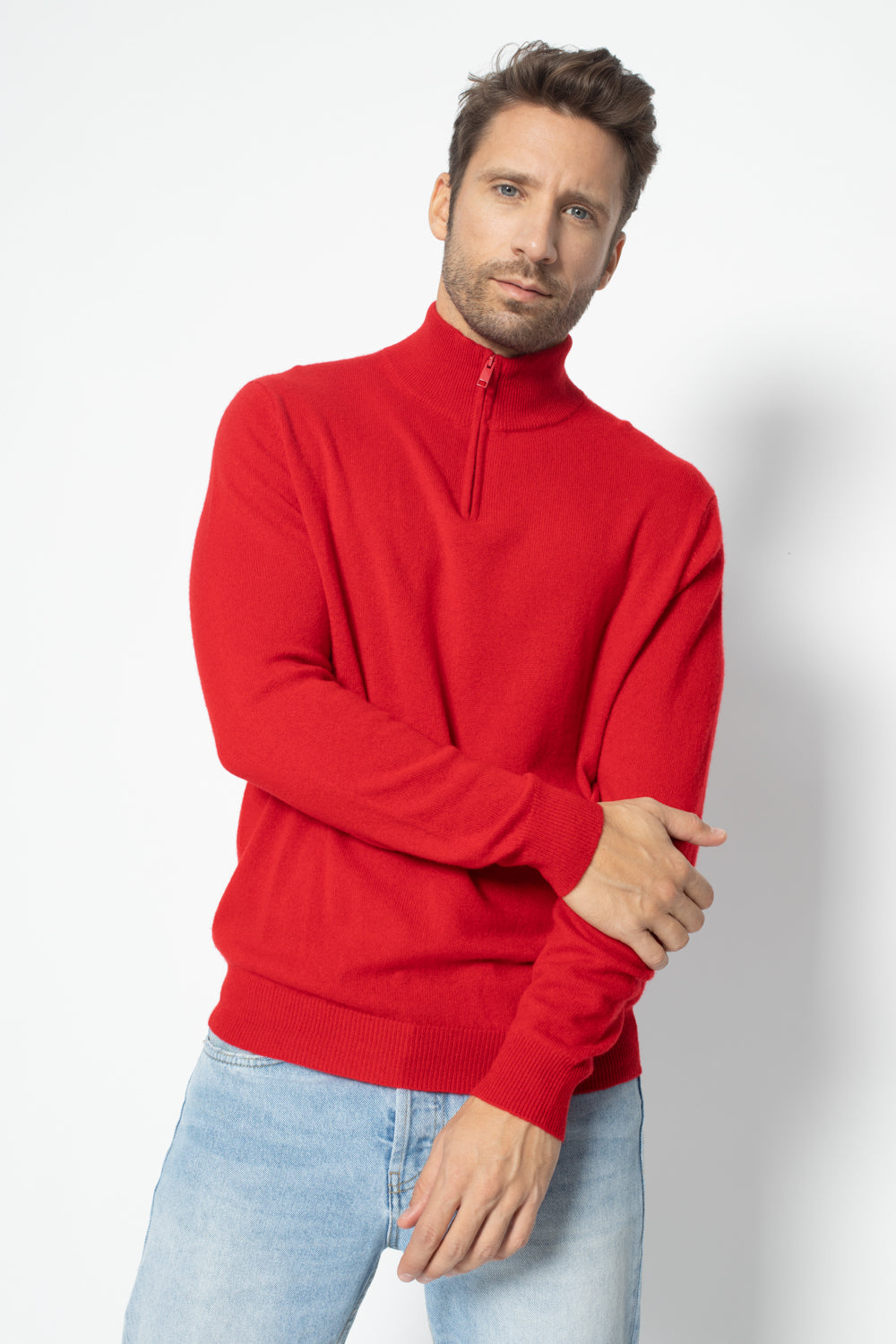 Pull Camionneur Bradley Rouge 100% Cachemire