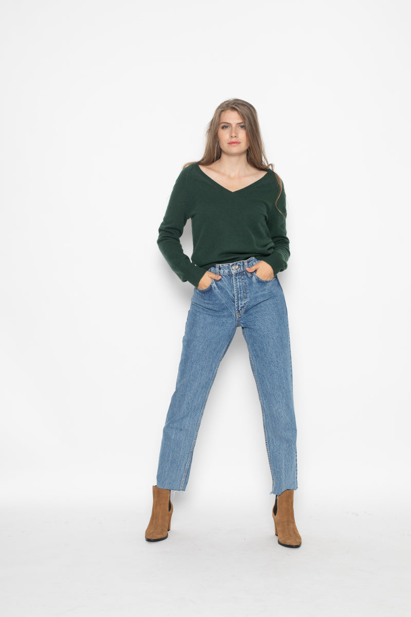Pull Col V Loose Phoebe Vert 100% Cachemire