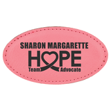 Pink Leatherette Oval Name Badge with Magnet