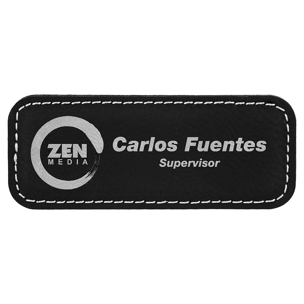 Black & Silver Leatherette Round Corner Name Badge with Magnet