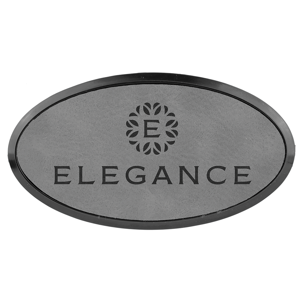 Gray Leatherette Oval Name Badge with Plastic Frame