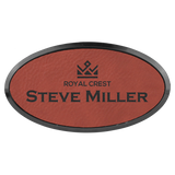 Rose Leatherette Oval Name Badge with Plastic Frame