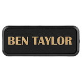 Black & Gold Leatherette Round Corner Name Badge with Plastic Frame