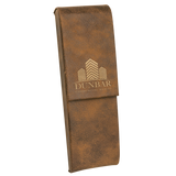 Rustic & Gold Leatherette Double Pen Case