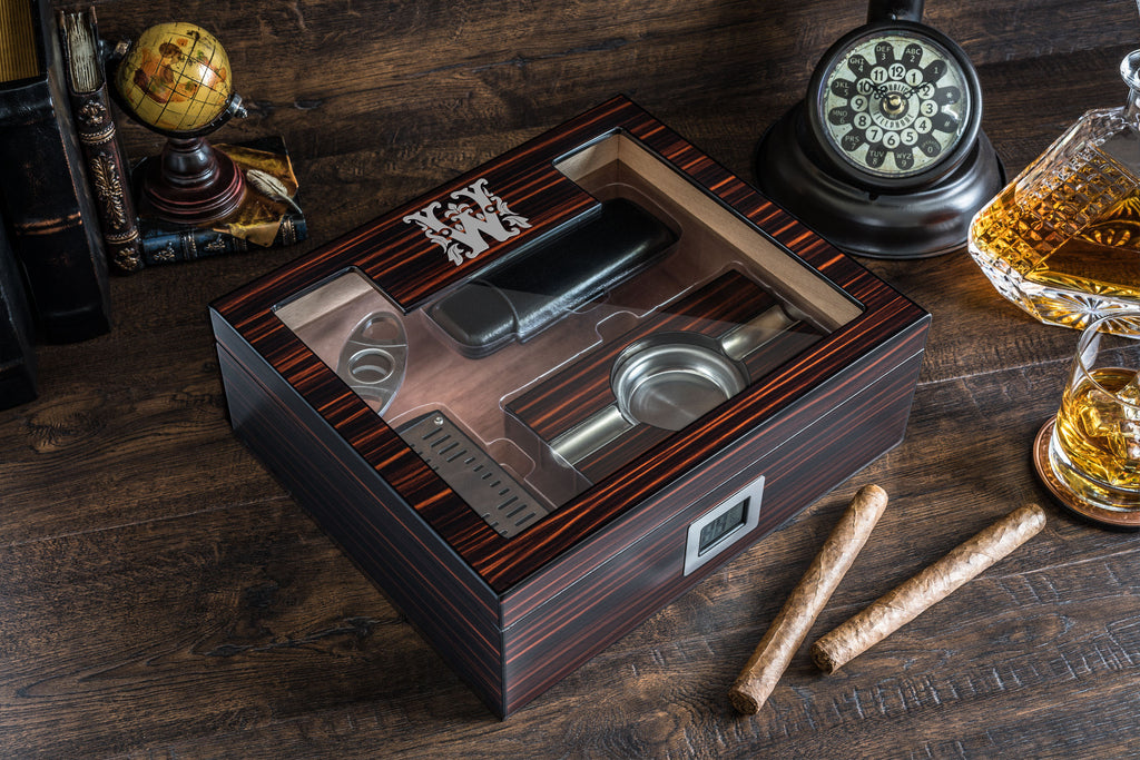 Ebony Finish Cigar Humidor Box with Accessories, High Quality Lacquer Humidor