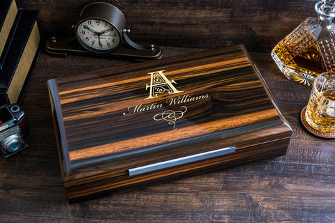 Impressive Cigar Humidor Box with Accessories, High Quality Lacquer Ebony Finish