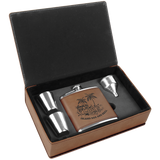 6 oz. Dark Brown Leatherette Flask Gift Box Set