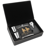 6 oz. Black & Gold Leatherette Flask Gift Box Set