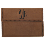Dark Brown Leatherette Hard Business Card Holder