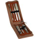 Dark Brown Leatherette Manicure Set