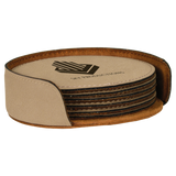Light Brown Leatherette Round 6-Coaster Set
