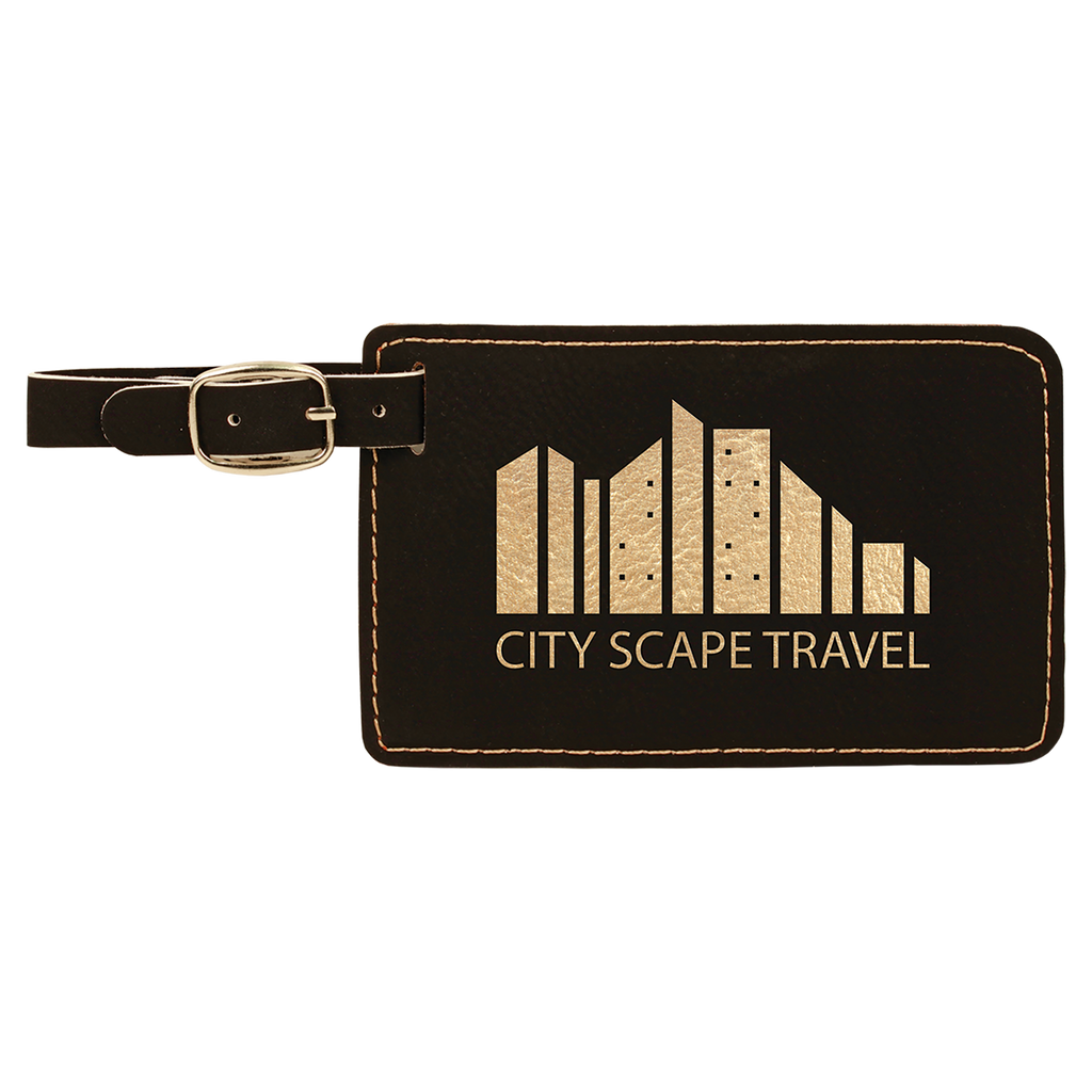 Black & Gold Leatherette Luggage Tag