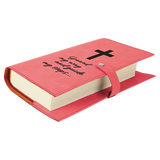 Pink Leatherette Book/Bible Cover with Snap Closure