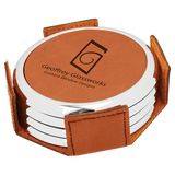 Rawhide Leatherette Round 4-Coaster Set with Silver Edge