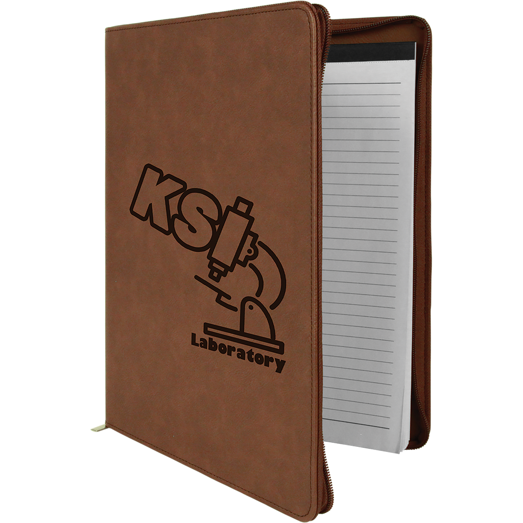 Dark Brown Leatherette Portfolio with Zipper & Notepad