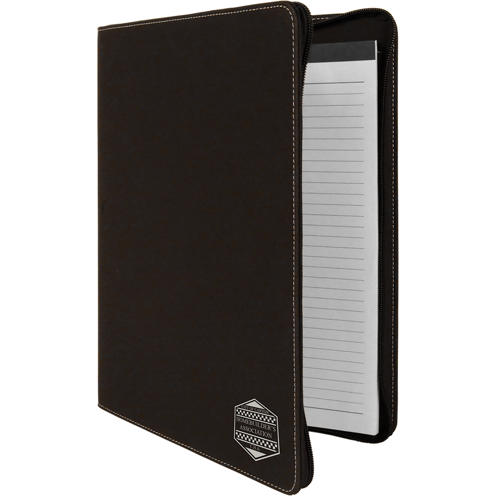 Black & Silver Leatherette Portfolio with Zipper & Notepad