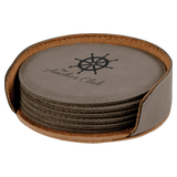 Gray Leatherette Round 6-Coaster Set