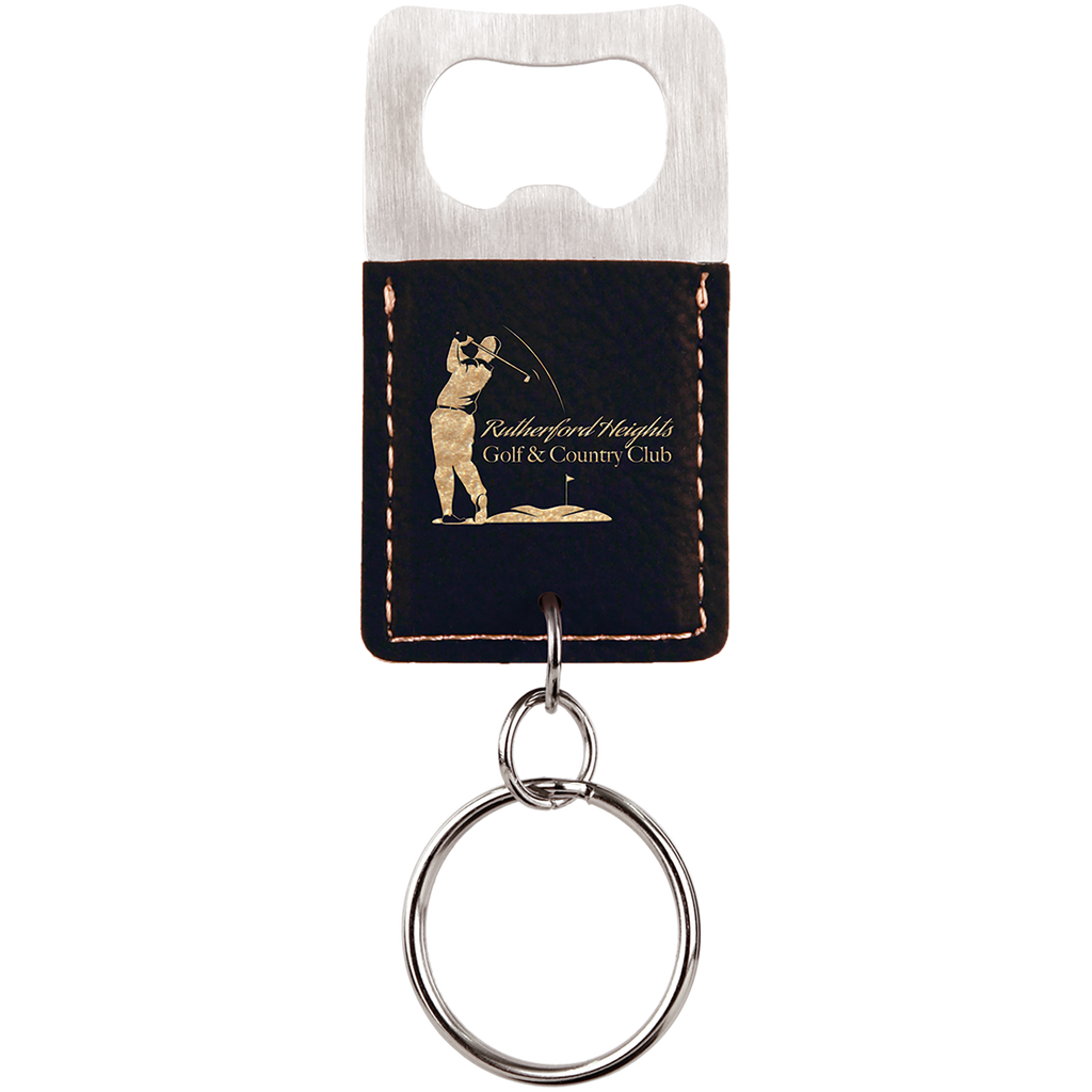 Black & Gold Leatherette Rectangle Bottle Opener Keychain