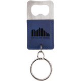 Blue Leatherette Rectangle Bottle Opener Keychain