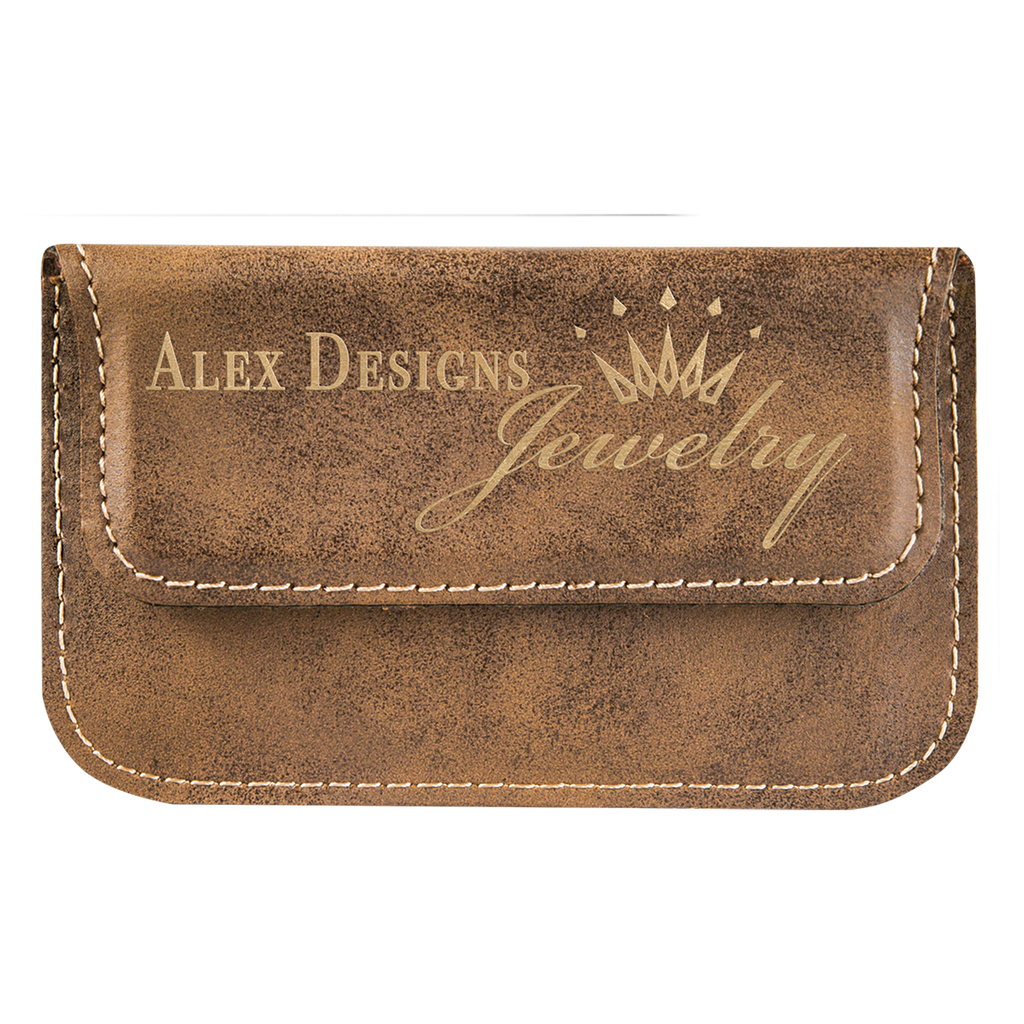 Rustic & Gold Leatherette Flexible Business Card Holder