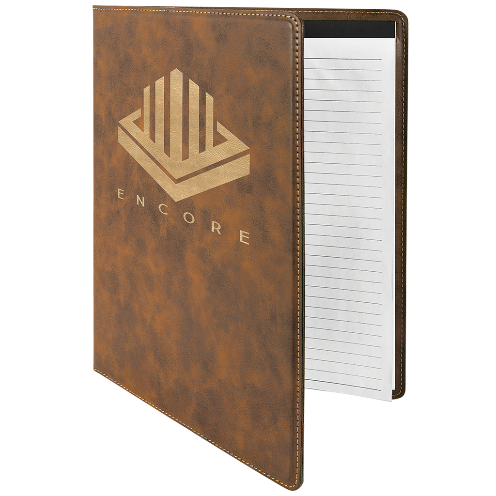 Rustic & Gold Leatherette Portfolio with Notepad