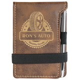 Rustic & Gold Leatherette Mini Notepad with Pen & Paper