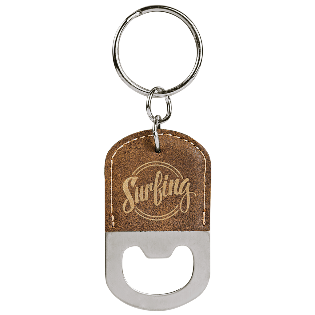 Rustic & Gold Leatherette Oval Bottle Opener Keychain