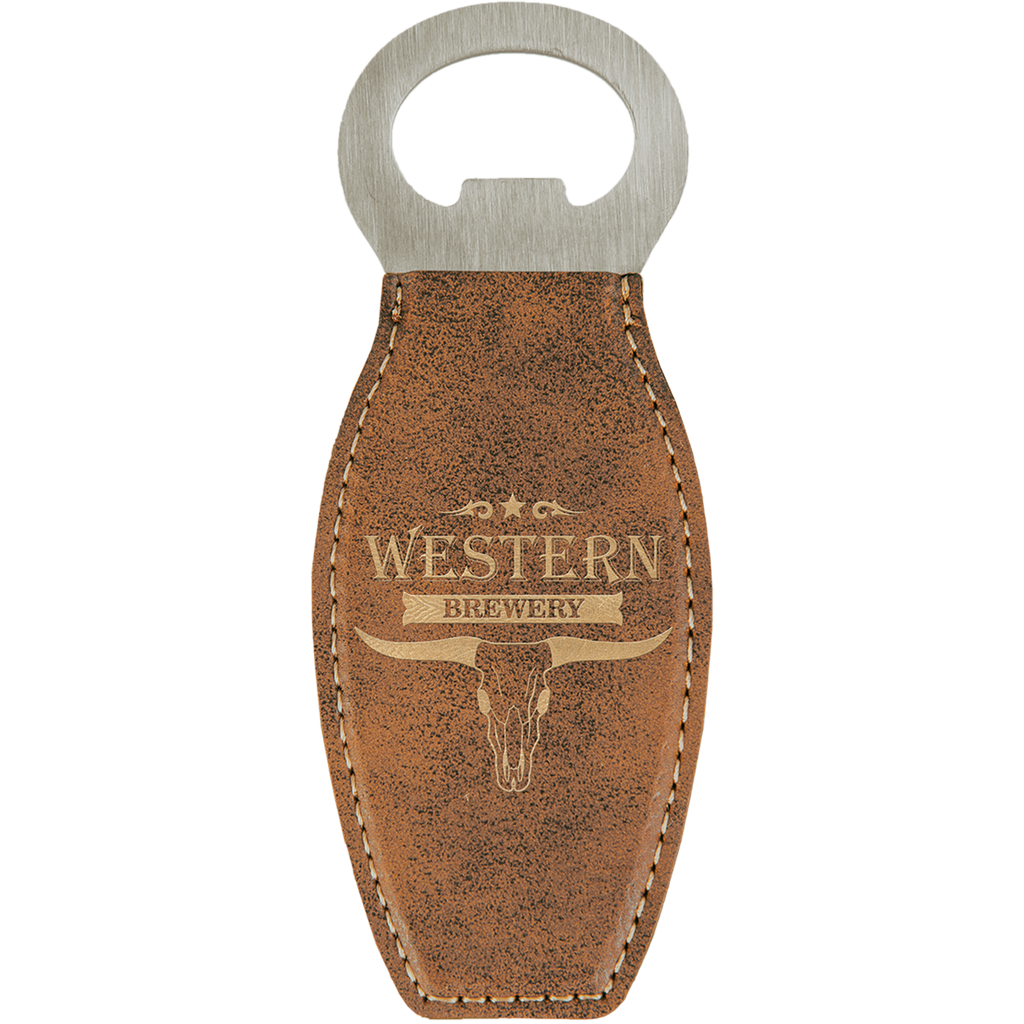 Rustic & Gold Leatherette Rounded Bottle Opener