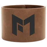 "9 1/2"" x 2"" Dark Brown Leatherette Cuff Bracelet"