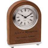Dark Brown Leatherette Arch Desk Clock