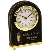 Black & Gold Leatherette Arch Desk Clock