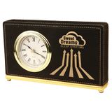 Black & Gold Leatherette Horizontal Desk Clock