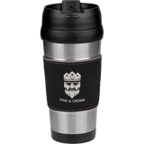 16 oz. Stainless Steel Travel Mug with Black & Silver Leatherette Grip