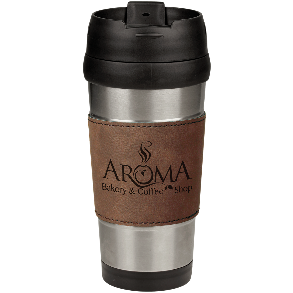 16 oz. Stainless Steel Travel Mug with Dark Brown Leatherette Grip
