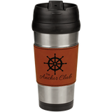 16 oz. Stainless Steel Travel Mug with Rawhide Leatherette Grip