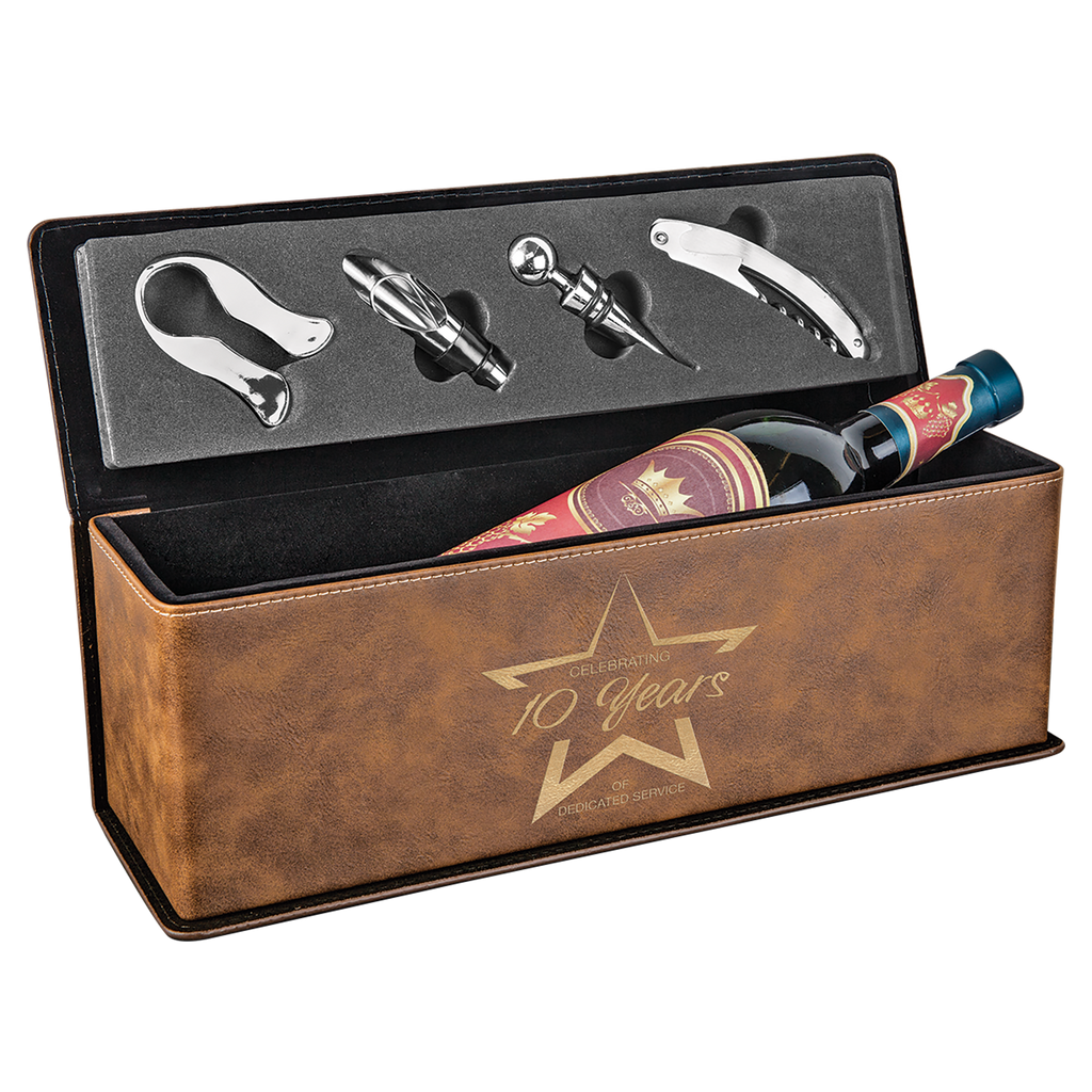 Rustic & Gold Leatherette Single Wine Box with Tools