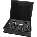 Black & Silver Leatherette 5-Piece Wine Tool Set
