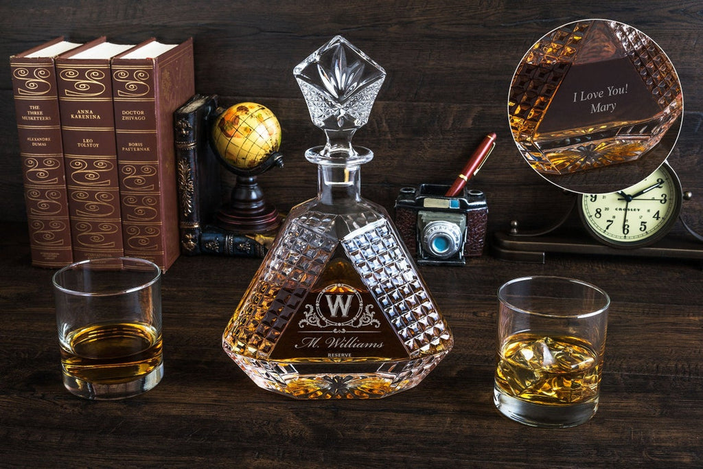 Triangular 2 Side Engraved Whiskey Decanter