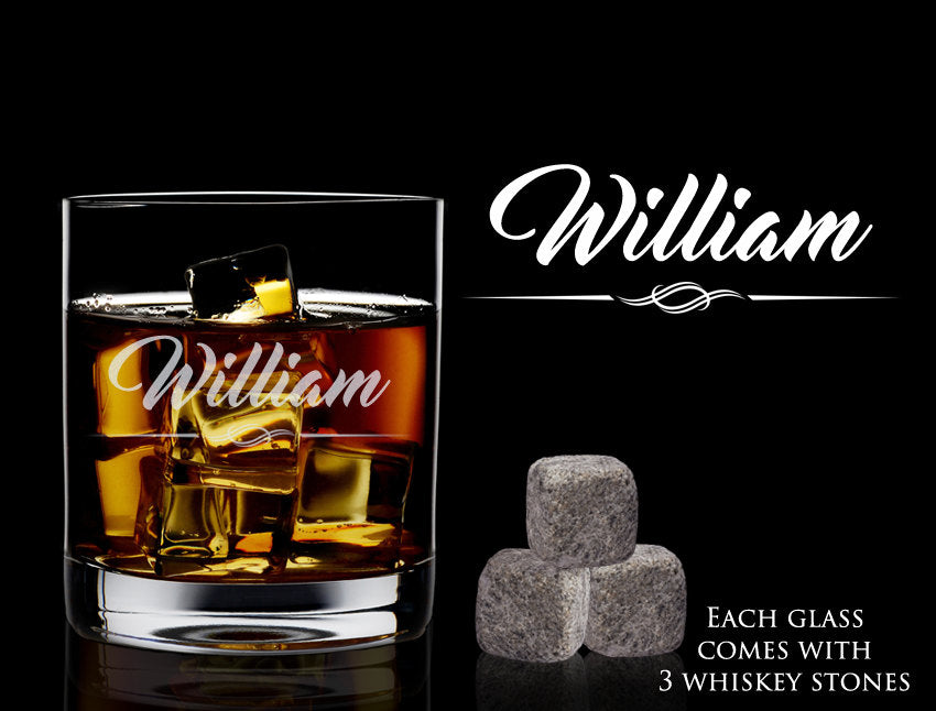 Personalized Whiskey Glass and Rocks